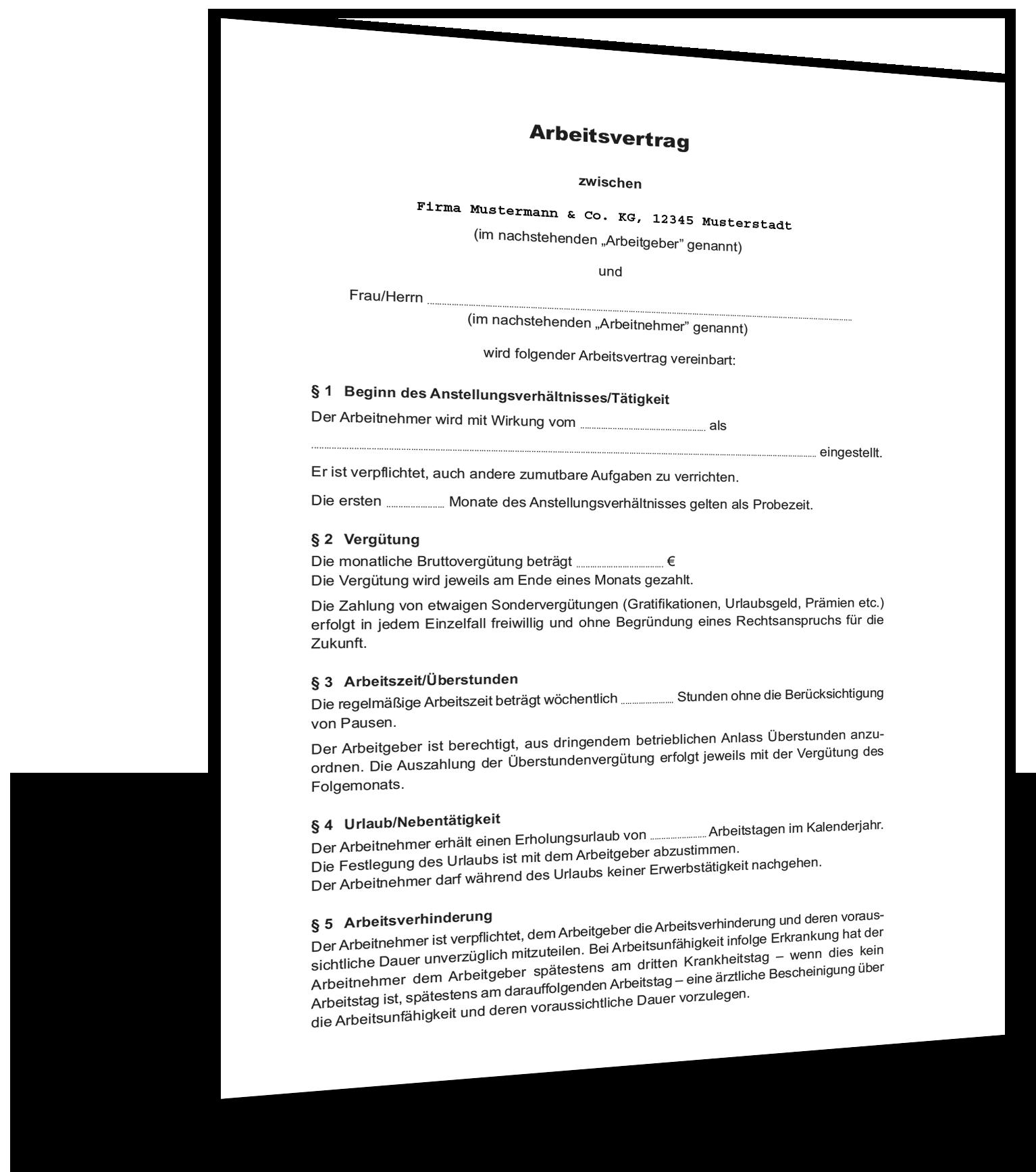 Unbefristeter Arbeitsvertrag Muster Gratis Vorlage