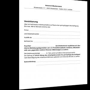 Teilzeit Arbeitsvertrag Geringfügige Beschäftigung Muster