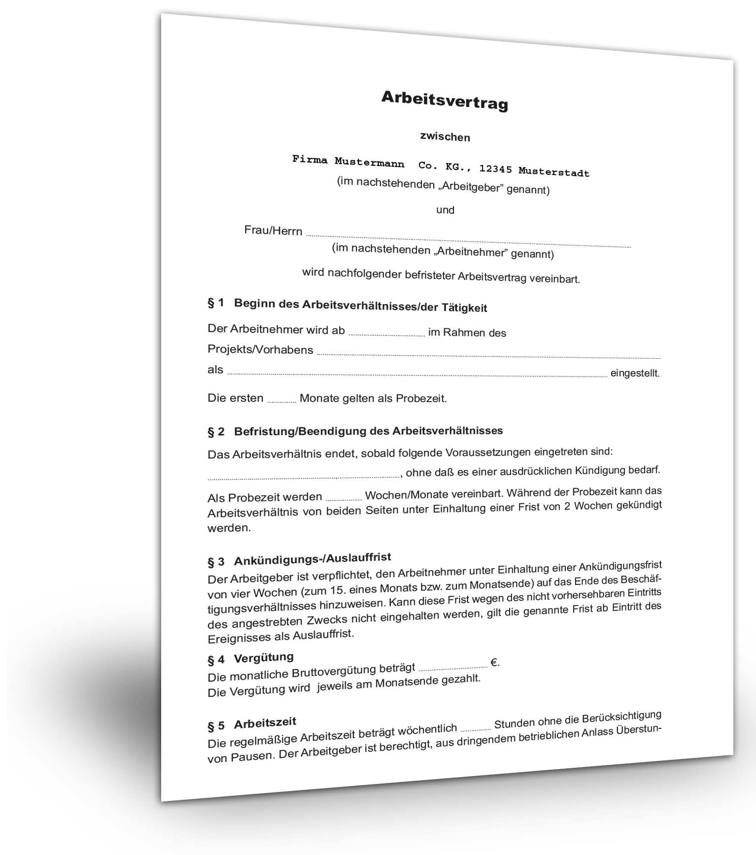 Projektbezogener Arbeitsvertrag Muster Kostenlos