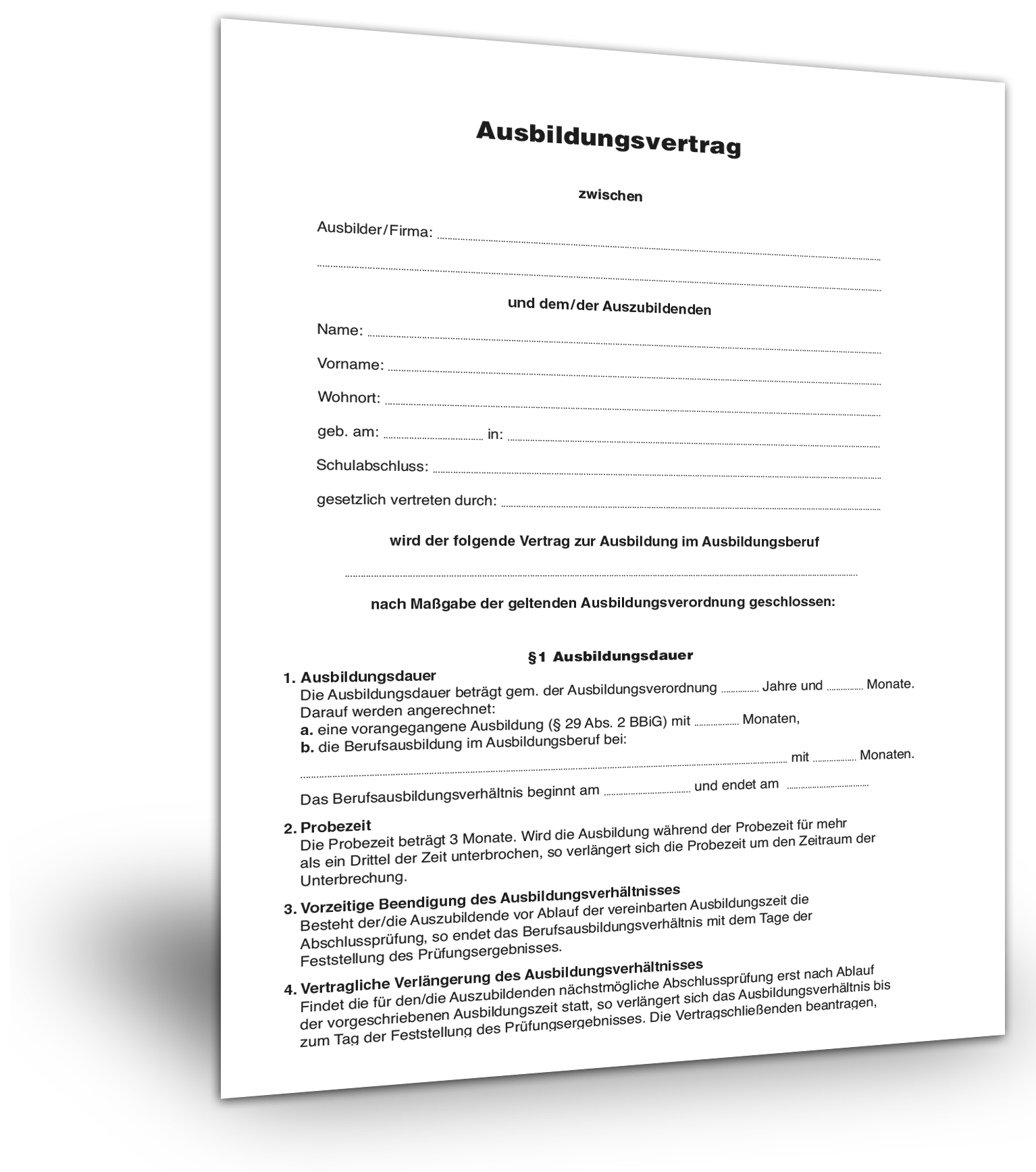 Ausbildungsvertrag Muster