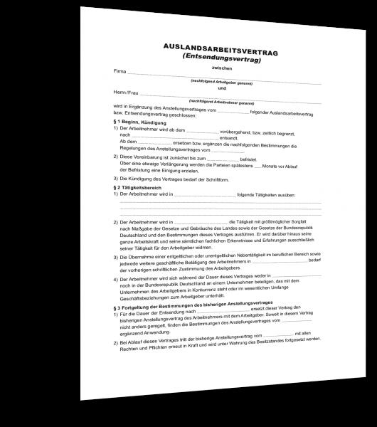 Entsendevertrag für Auslandseinsätze