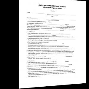 auslandsarbeitsvertrag mitarbeiter muster entsendevertrag - Muster Arbeitsvertrag Geringfugige Beschaftigung