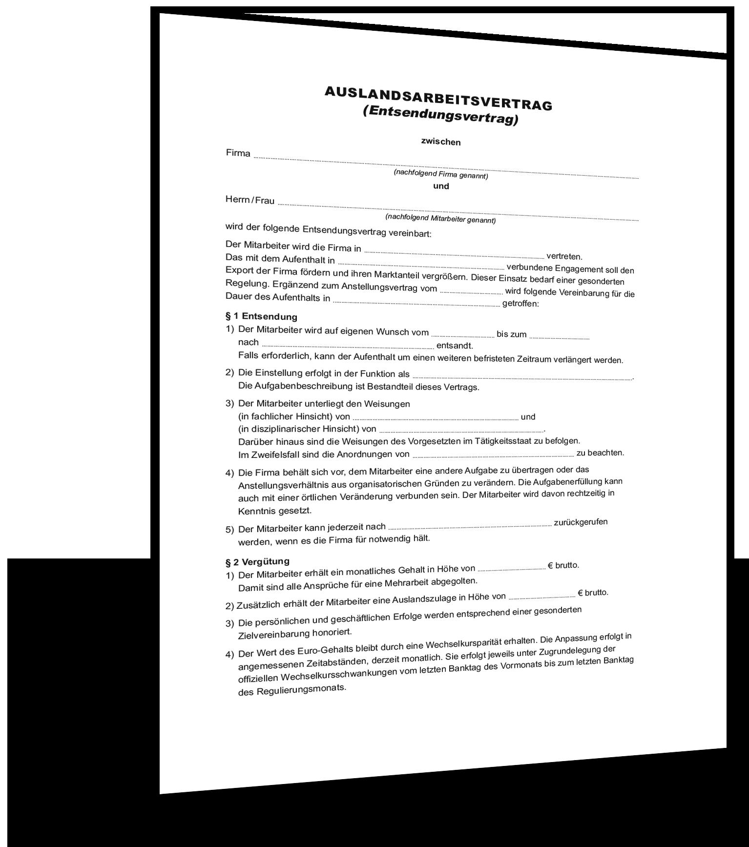 Muster Auslandsarbeitsvertrag Mitarbeiter (Entsendevertrag)