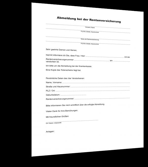 Abmeldung Rentenversicherung Muster