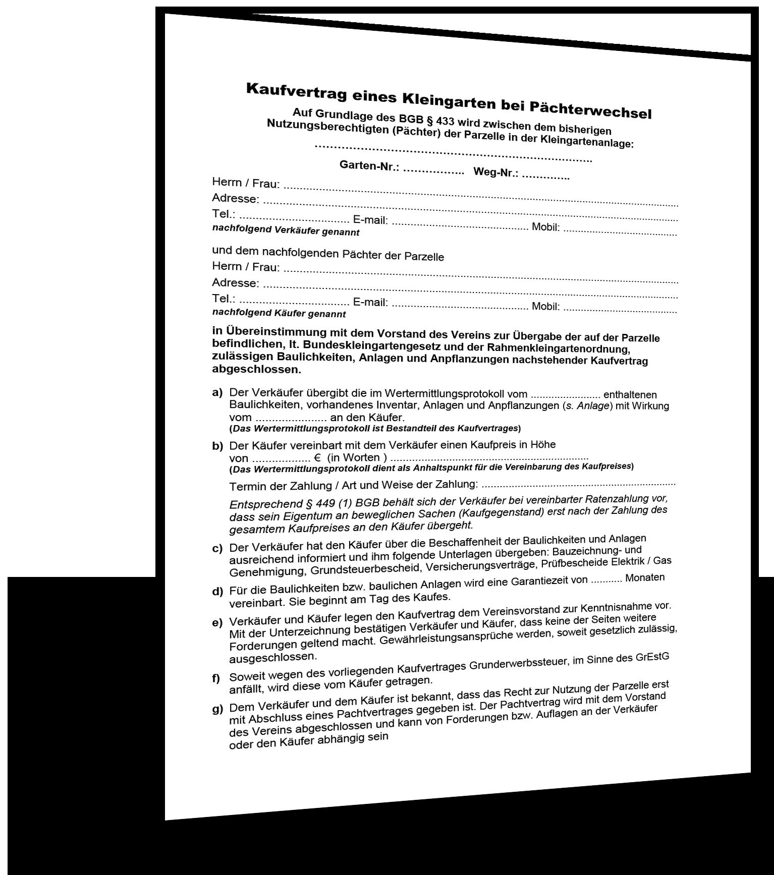 Kaufvertrag Kleingarten Pächterwechsel Muster