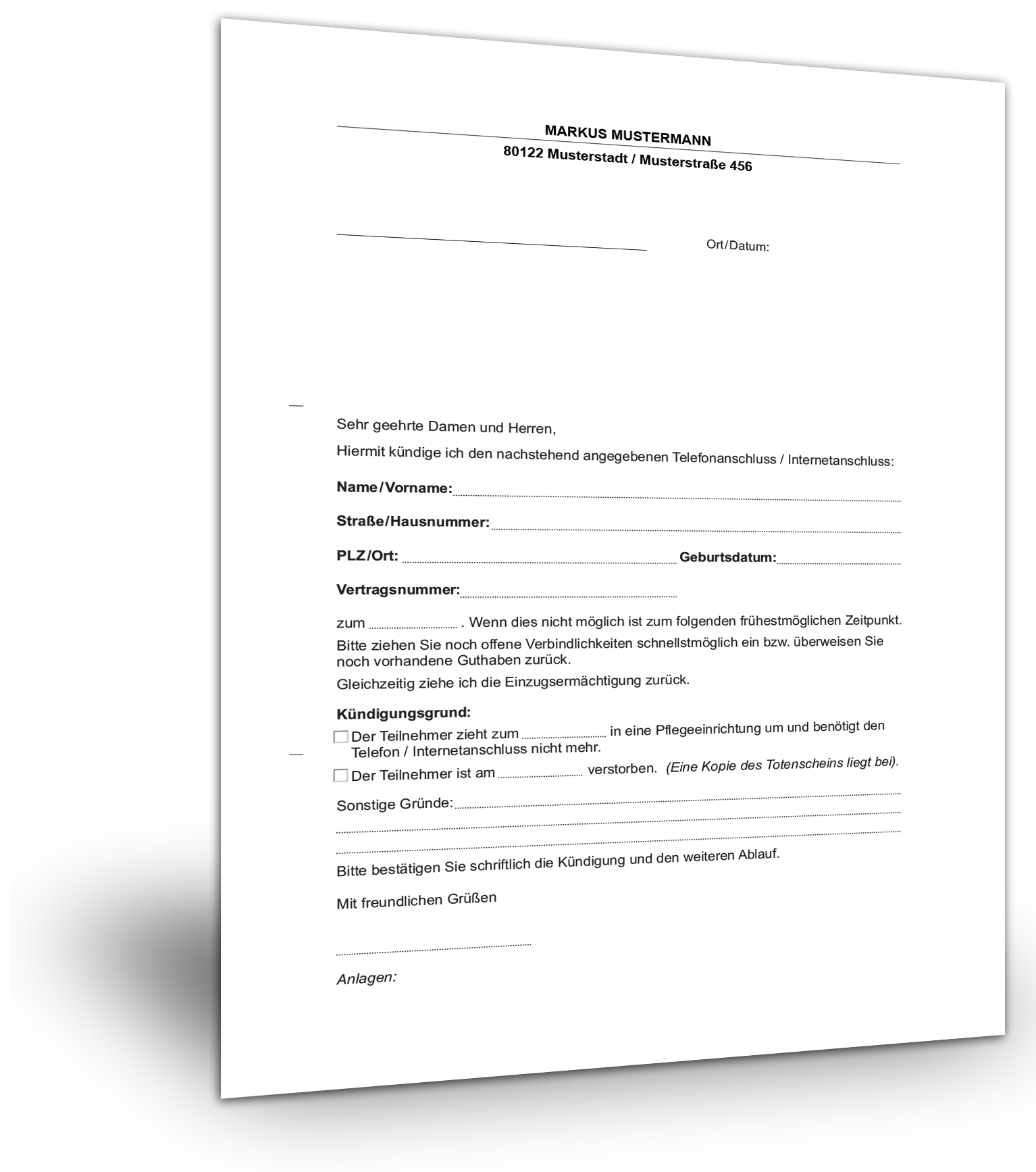 Kündigung Telefoninternet Muster Gratis Download