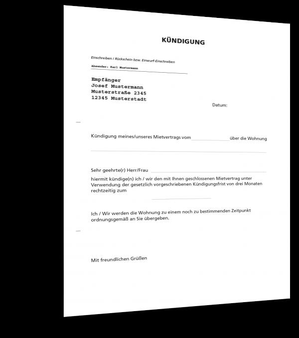Kündigung Mietvertrag Muster Als Kostenloser Download