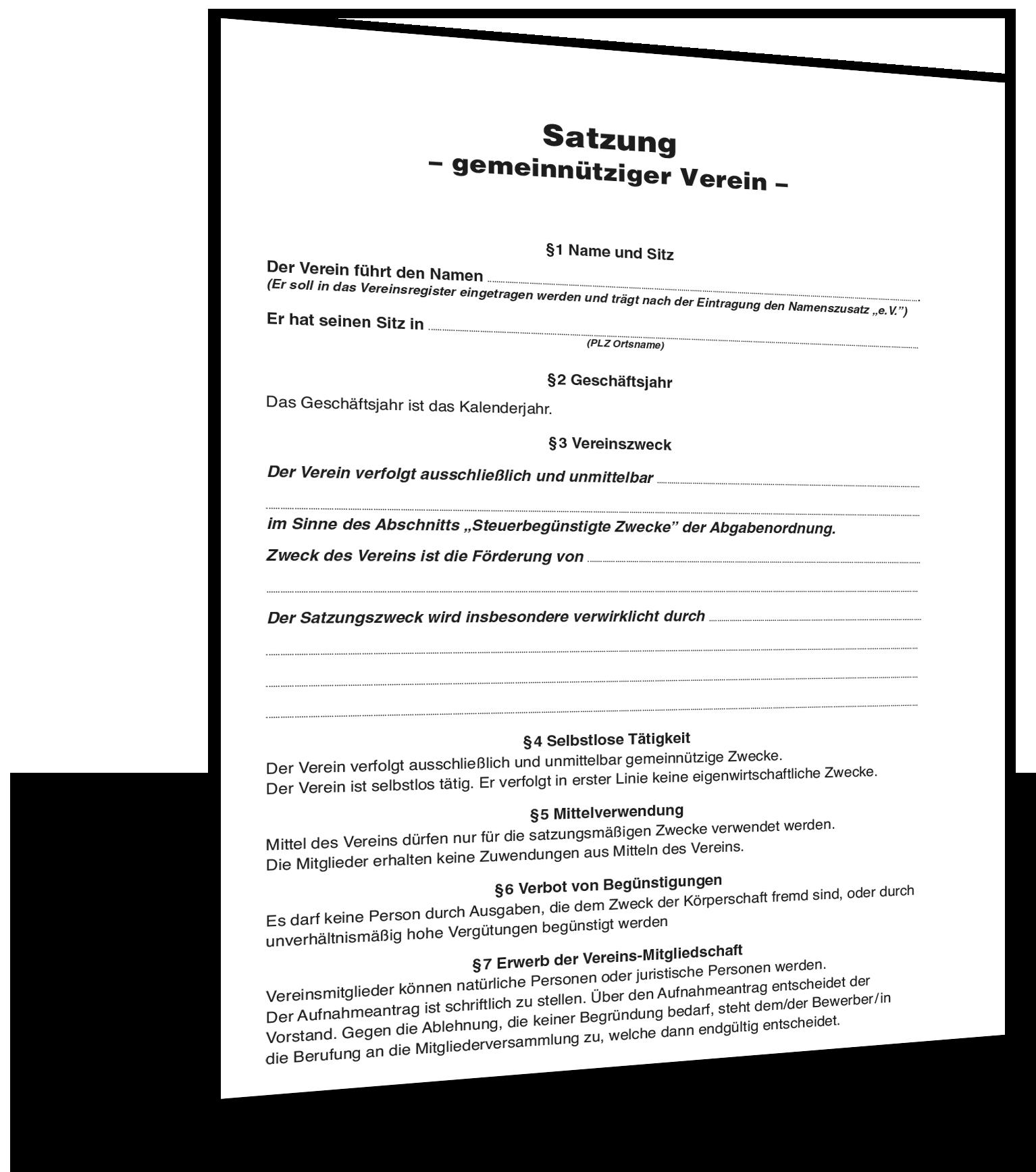 vereinssatzung muster - Vereinssatzung Muster
