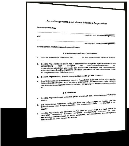 Anstellungsvertrag Mit Einem Leitenden Angestellten