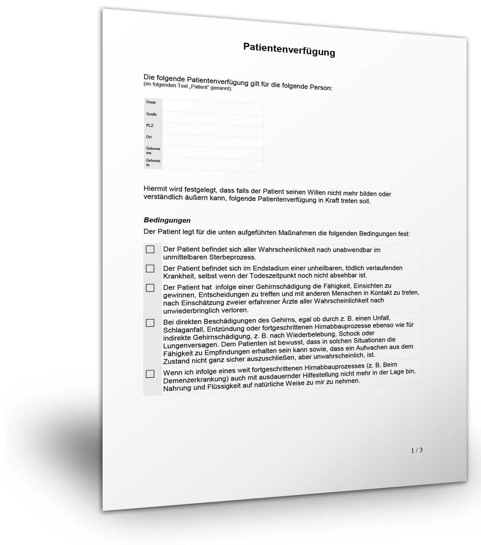 patientenverfuegungsformular muster - Patientenverfugung Muster