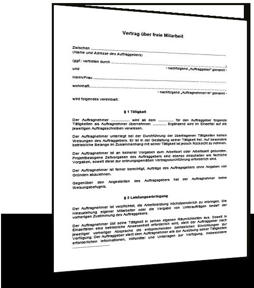 Freier Mitarbeiter Vertrag Muster