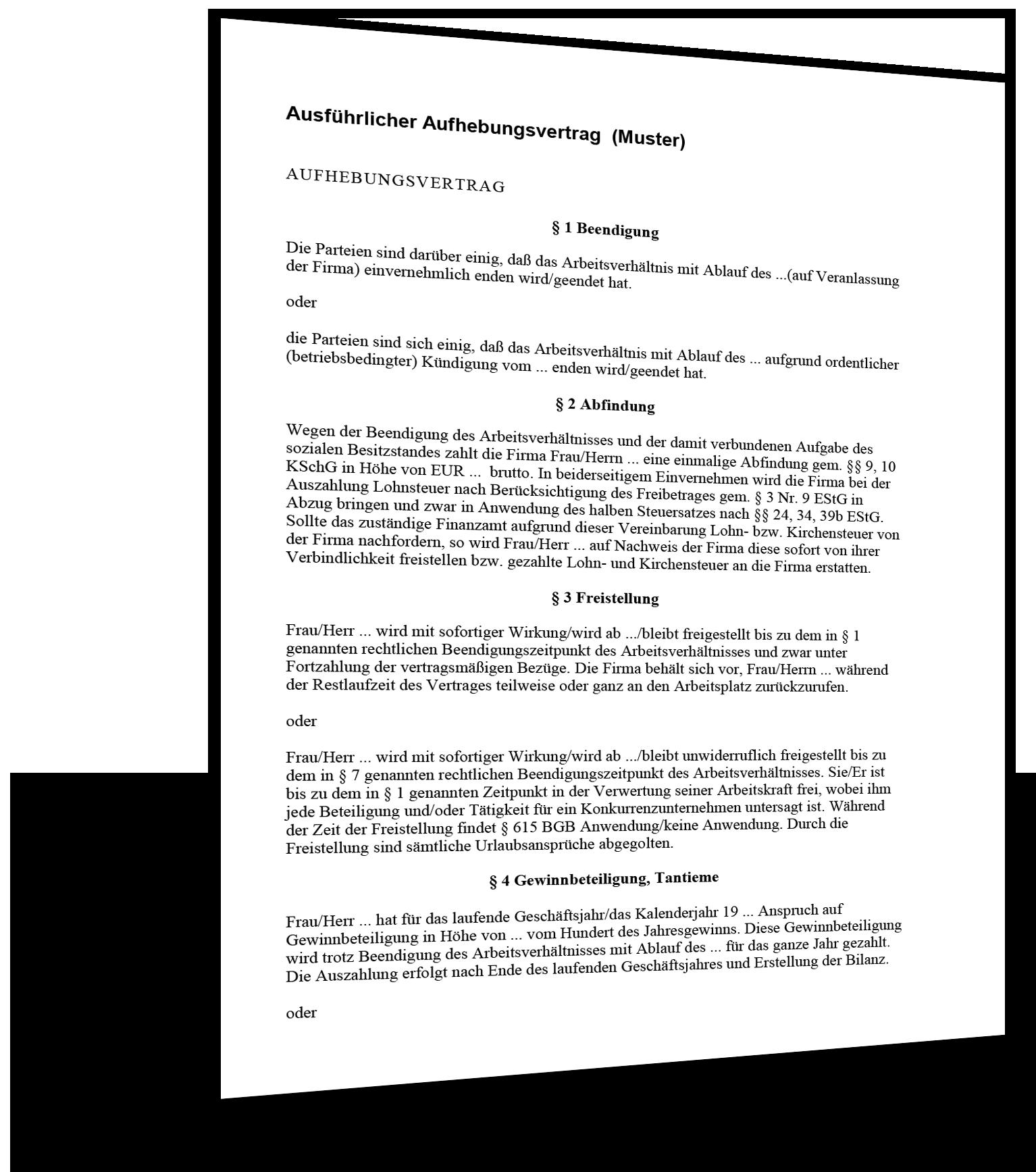 aufhebungsvertrag_ausfuehrlich muster - Aufhebungsvertrag Arbeitnehmer Muster