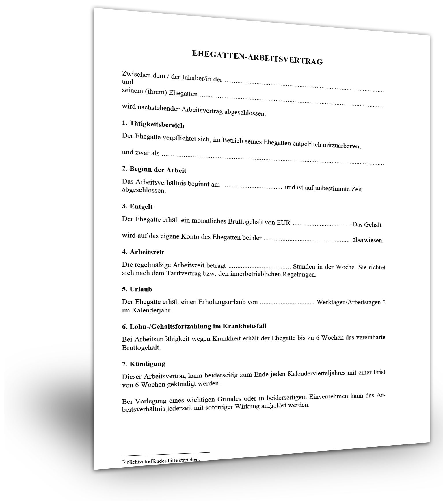 Muster Ehegatten Arbeitsvertrag Kostenloser Download