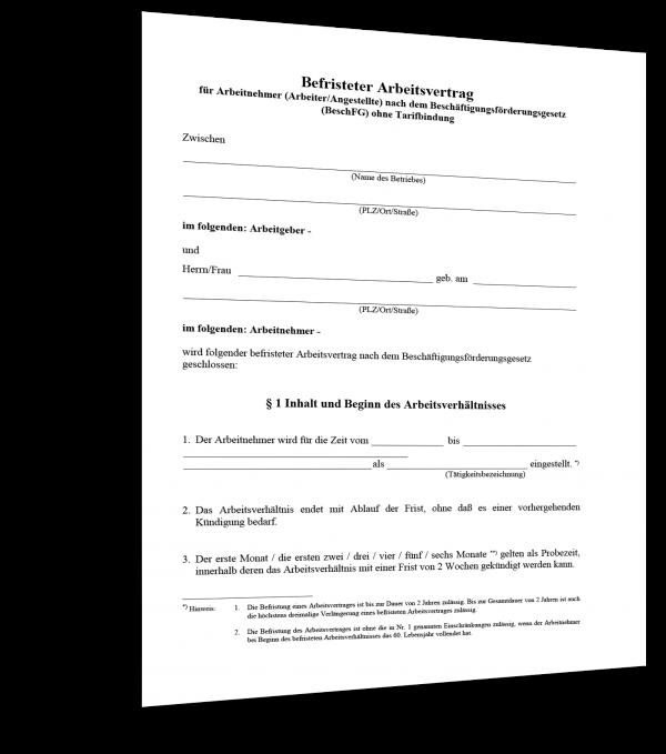 Befristeter Arbeitsvertrag (ohne Tarifbindung) Muster