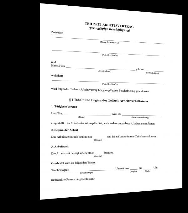 Teilzeit-Arbeitsvertrag (geringfügige Beschäftigung) Muster