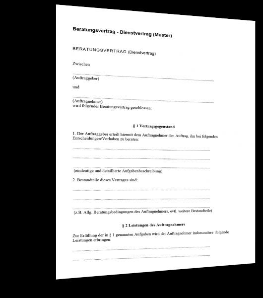 Beratungsvertrag (Dienstvertrag) Muster