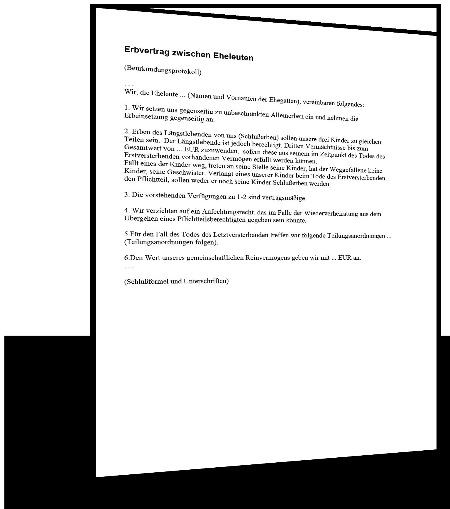erbvertrag zwischen eheleuten muster - Erbvertrag Muster
