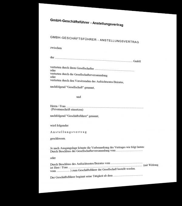 Anstellungsvertrag GmbH-Geschäftsführer Muster