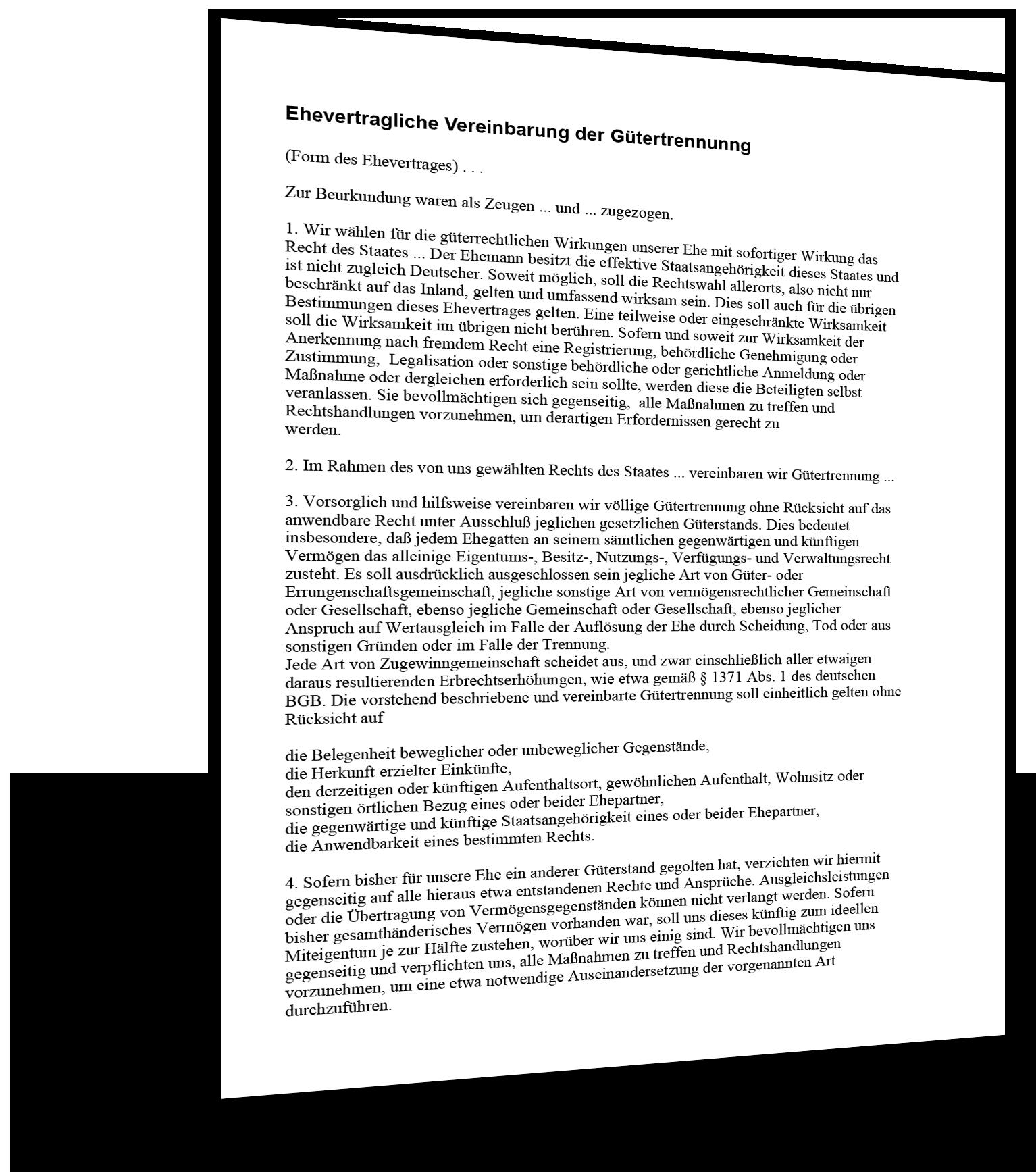 gtertrennungsvereinbarung muster - Gutertrennung Muster