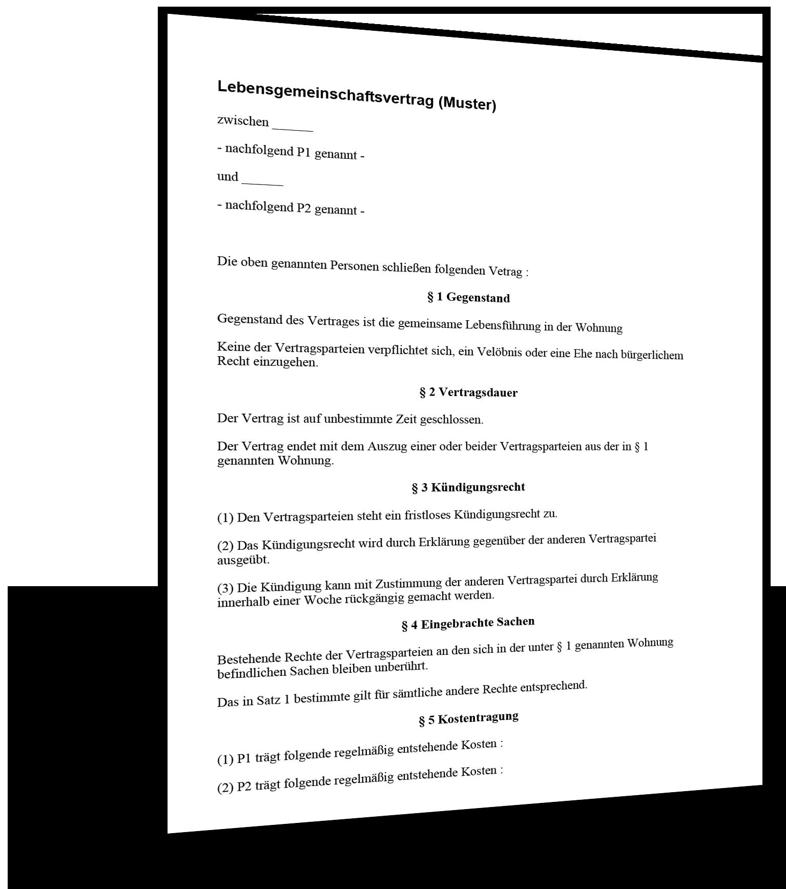 lebensgemeinschaftsvertrag Muster