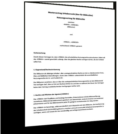 Muster Urheberrechtsvertrag Kostenloser Download