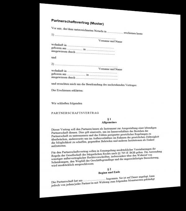 partnerschaftsvertrag Muster