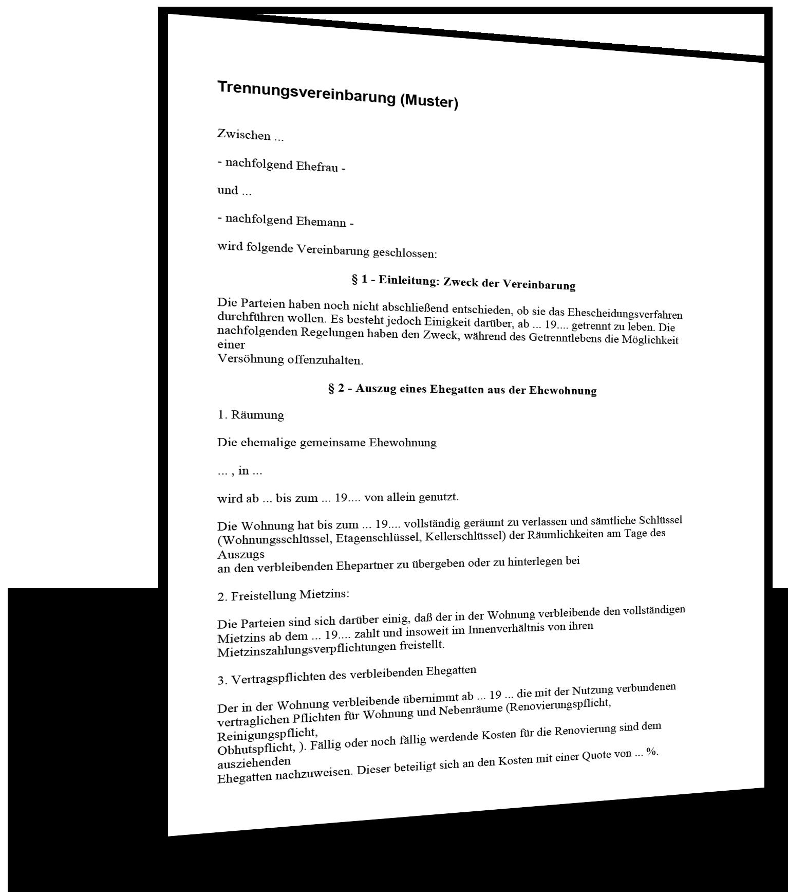 trennungsvereinbarung muster - Trennungsvereinbarung Muster Kostenlos