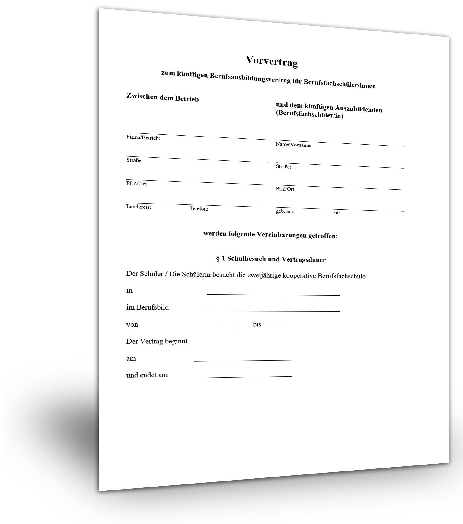 Vorvertrag Berufsausbildung Muster - Standardvertraege.de